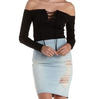Off-the-Shoulder Lace-Up Crop Top by Charlotte Russe