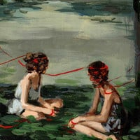 Red Ribbon . 12 x 16 giclee art print
