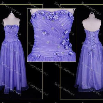 Fashion sweetheart tea-length tulle with flowers pleated evening dresses