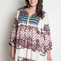Printed Peasant Tunic - Cream