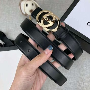 GUCCI Newest Fashion Women Men Smooth Buckle Belt Leather Belt Black