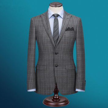 Taylormade Men's Classic Plaid Three Piece Wool Suit