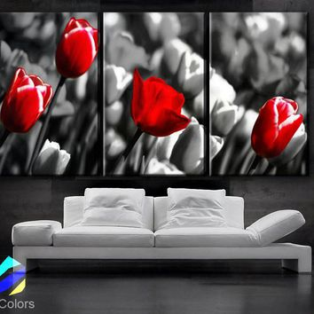 "LARGE 30""x 60"" 3 Panels Art Canvas Print  Red Rose background Black white Floral Flower love Wall Home decor (Included framed 1.5"" depth)"