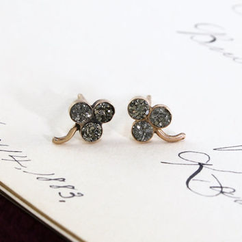 Victorian Pyrite Shamrock Earrings, Antique 10k Rose Gold Clover Studs, Fools Gold, Good Luck Symbol, Bohemian Boho Bride Bridal Jewelry