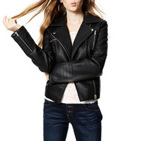 Marlow Vegan Leather Moto Jacket - Black