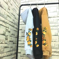 Rose Embroidered Hoodie Long Sleeve Sweater Top Women Men I