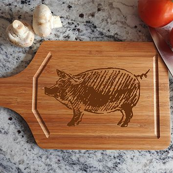 ikb325 Personalized Cutting Board Wood pork pig meat food restaurant