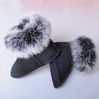 leather baby first walers toddler shoes baby warm fur sow boots high-quality soft shoes