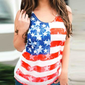 Women Sleeveless American Flag Tank Tops Casual Loose Women Tops Middle Age Clothing Ropa Mujer Roupas Feminina Camisole