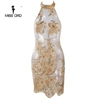 Missord Sexy high neck sleeveless backless see through lace mini dress