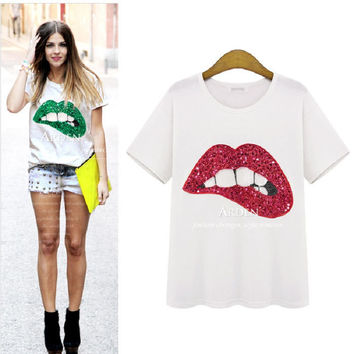 2016 summer tee oversized lady plus size tshirt sequined green red lip T-shirt female white big size lipstick t shirt 4XL 5XL