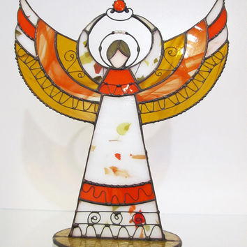 Guardian angel talisman Stained glass handmade figurine statuette candle holder More colors available Angel's Day gift Home decor Souvenir