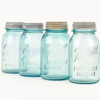 Aqua Glass Ball Mason Canning Jar Collection with Lids Antique