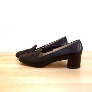 Vintage Womens Penny Loafers / High Heel Loafers / Brown Pumps / Brown Leather Heels / Chunky Heel Shoes / Slip On Heels US 10 AA