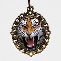 Tiger Necklace, Tiger Jewelry, Cat, Jungle, Oval Pendant,