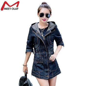 Women Denim Trench Coat Spring Autumn Especially Female Hooded long Jean Windbreaker Raincoat Ladies Outwear Plus Size 3XL YL071