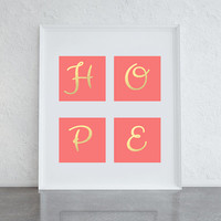 Hope, coral pink and gold tile, gold typographic print, motivational art print, girly bedroom art print, home decor wall art, printable art