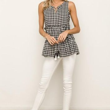 Gingham Tiered Top
