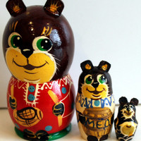 Bear with a big spoon traditional Russian toy nesting doll painted curved made by hand decorative  collectible holiday birthday Easter gift