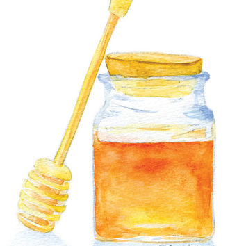 Honey Jar Watercolor Painting 5 x 7 Fine Art Giclee Reproduction