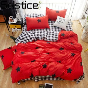 Cool Solstice Home Textile Hot Red Bedding Set Kid Teen Girls Linens Star Duvet Cover Pillowcase Plaid Bed Sheet King Queen Full SizeAT_93_12