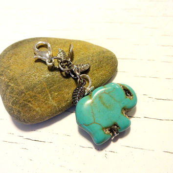 Cute Elephant Purse Fob, Turquoise Blue Purse Charm, Lucky Elephant Zipper Pull, Handbag Elephant Charm