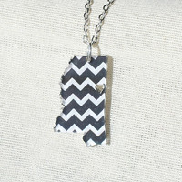Free Shipping! Black Chevron State Acrylic Necklace Mississippi (Choose State & Color)