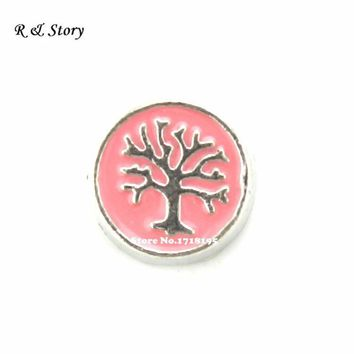 Pink Circle Family Tree Floating Charm for Glass Living Memory Lockets LFC_1694