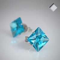 Aqua 925 Sterling Silver .47 CaratCubic Zirconia SQUARE Stud Earrings | Body Candy Body Jewelry