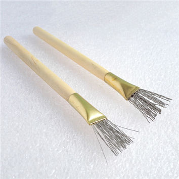 2Pcs Wooden Handle Thick Thin Iron Wire Brush Clay Tool for Making Clay Doll Hair Model Hair Indentation Pen Art Supplies