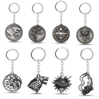Game of Thrones key chain  House Stark keychain Winter Is Coming 5.2 cm Metal pendant keyring key chain ring for fans
