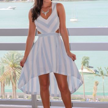Blue and White Striped High Low Dress