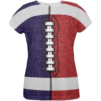Fantasy Football Team Navy and Red All Over Womens T Shirt
