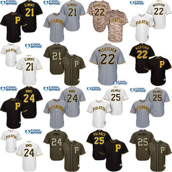 Youth 21 Roberto Clemente 24 Barry Bonds 22 Andrew McCutchen 25 Gregory Polanco Pittsburgh Pirates kids Baseball Jersey stitched size S-XL