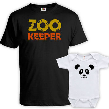 Matching Father And Baby Father Daughter Matching Shirts Daddy And Son Shirts Father And Baby Gift Zookeeper Panda Bodysuit MAT-732-733