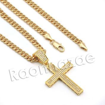 Lab diamond Micro Pave Jesus Cross Pendant w/ Miami Cuban Chain BR064