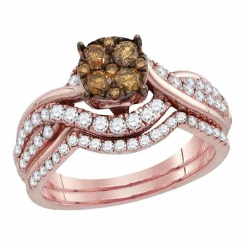 14kt Rose Gold Women's Round Brown Diamond Cluster Bridal Wedding Engagement Ring Band Set 1.00 Cttw - FREE Shipping (US/CAN)