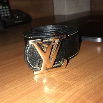PEAP6Q Louis Vuitton Belt, LV Black Leather