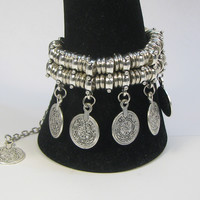 Turkish Silver Tribal Bohemian Gypsy Ethnic Coin Charm Anklet Bracelet