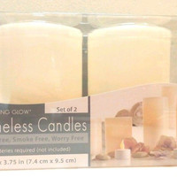 LED Candle Set with Real Wax Flameless Flicker 2 pc Battery 3 x 3.75 inch New