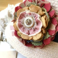 Fabric Flower Brooch - Red and Gold Blossom