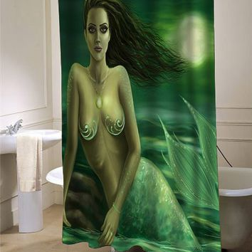 Green Mermaid shower curtain - myshowercurtains