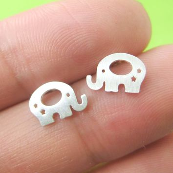 Adorable Elephant Silhouette Shaped Stud Earrings in Silver | Allergy Free