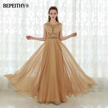 Robe De Soiree Sexy Backless Gold Chiffon Long Prom Dress Dress 2015 Vestido De Festa Longo New Party Dresses Fast Shipping New