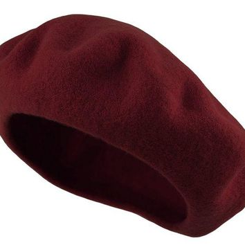 DCK4S2 Deewang Traditional Women's Men's Solid Color Plain Wool French Beret One Size