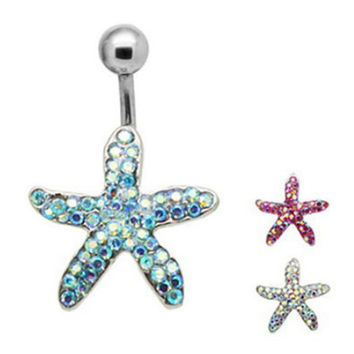 New Charming Dangle Crystal Navel Belly Ring Bling Barbell Button Ring Piercing Body Jewelry -03324