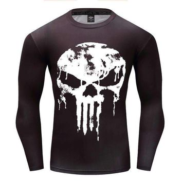 est long sleeve 3d t shirt men crossfit tops punisher superhero skull superman tshirt men fitness compression shirt