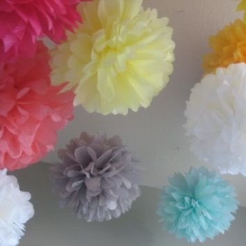 40 Tissue Paper Pom Poms Decoration Holiday Party DIY Kit - Deluxe Wedding Decoration