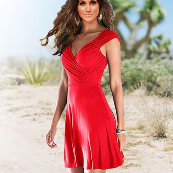 Fashion Summer New Solid Color Short Sleeve Dress Women Red