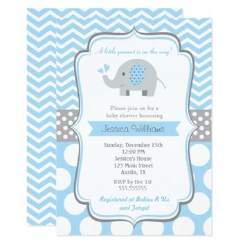 Boy Elephant Baby Shower Invitations